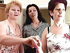 Lewd old bitch enjoys having lesbo sex with girls much younger than her, which..