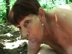 Granny forest sucking big dick ravaging doggie-style