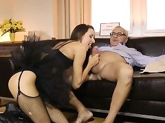 Tutu wearing british honey pussyfucking oldman