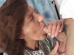 Sewing old granny swallows customer's pipe