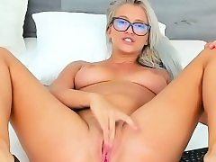Charming Nerdy Slams Her Pussy And Bursts On Camera