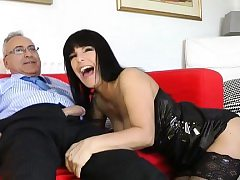 Youthful dilettante cutie enjoys getting fucked by an old lad