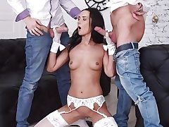 Tantalizing Brunette Angie Moon Has All Three Crevices Used by Two Horny Dudes