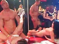Damsels fucked on a party by strippers