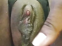 Ebony doll with big clit contract her phat creamy pussy