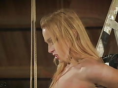 Teen is roped up and fucked gets punished slapped kinky