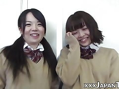 Schoolgirl from Japan farting into girlfriends nice face