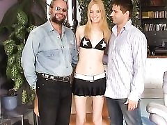 Threesome gonzo with older and younger guy