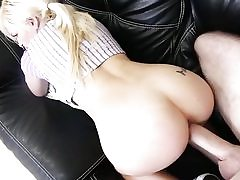 Smallish young blonde getting doggystyled rigid