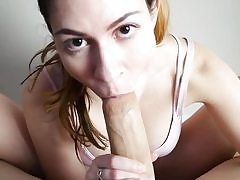 Footjob pov bj in front of webcam by a sexy babe