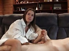 Young cute gal plays with his nice prick