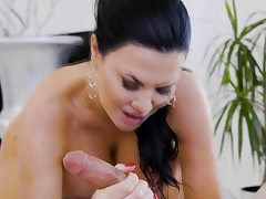 Dude gets rubdown and more from his super hot huge-boobed former schoolteacher