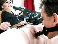 Horny boy is fucking her fuckbox with a strap on and covers her funbags with cum