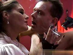 Mature tart is dominating over this super-naughty man while smoking a cig